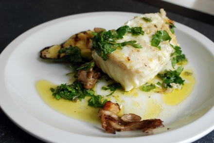grilled halibut with salsa verde